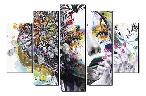 Imagen 1 de 1 de Cuadro Rostro Mujer Abstracto 5 Piezas