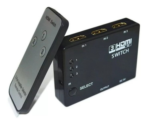 Switch Selector Hdmi 3 Puertos De Entrada 1 Salida V1.4 3d