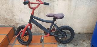Bicicleta Niños Rod 12 Negra / Roja Usada (solo Por Hoy)