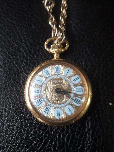 Imagen 1 de 4 de Reloj Colgante Antiguo De Mujer   Peltre  18 Micro Goldfiel