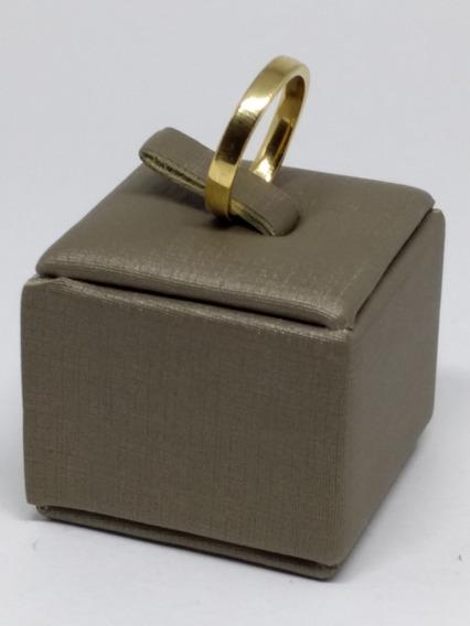 Anel Aliança Compromisso Noivado Dourada Folheada Lisa C809