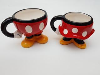 2 Tazas Mickey Y Minnie Mouse Ceramica Disney 3d