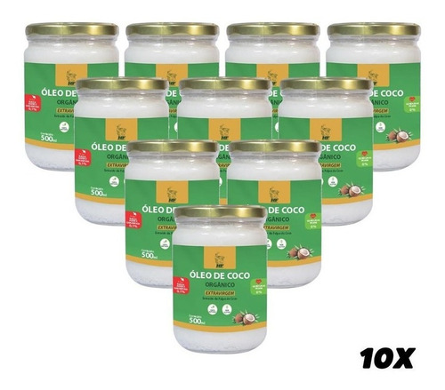 Imagem 1 de 3 de 10x Oleo De Coco 500ml Orgân Extravirgem Hidrata Cabelo Pele