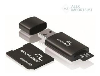 Cartão De Memória Multilaser 8 Gb Micro Sd+usb Adaptador Cba