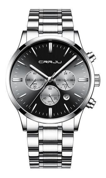Relógio Masculino Cronógrafo De Aço Inoxidável Prateado