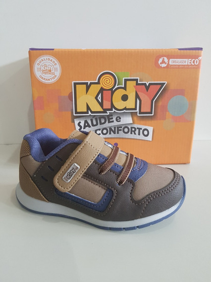 Tenis Kidy Free 096-0121-2670 Camel/marrom/azul - 22 Ao 27