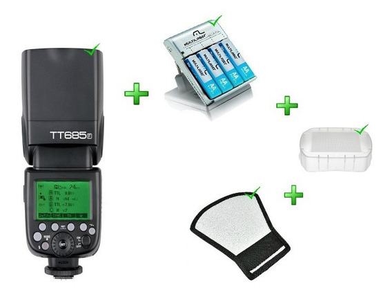 Kit Flash Tt685f + Rebatedor + Difusor + Carregador Pilha Nf