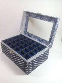Porta Joias E Bijuterias Com Divisórias E Vidro Azul G