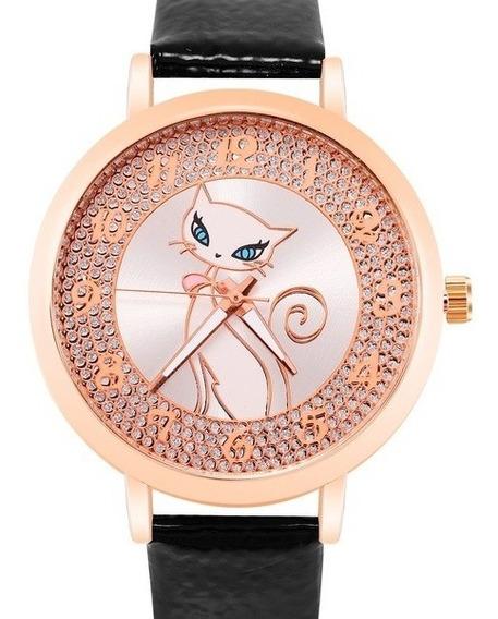 Relógio Analógico Feminino Gatinha Diamante Pulso Luxo Lindo