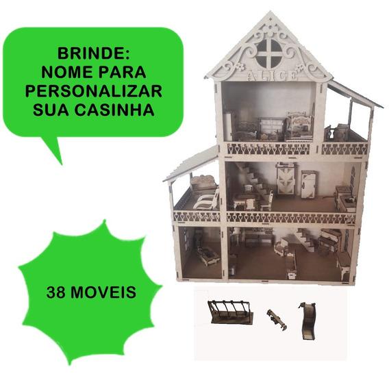 Casa Casinha Mdf Polly Lol 38 Mini Moveis + Brinde
