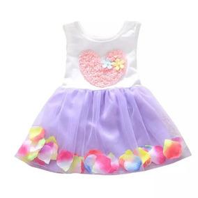 Vestido De Menina Coração 1 Ano Cor Violeta Claro - G