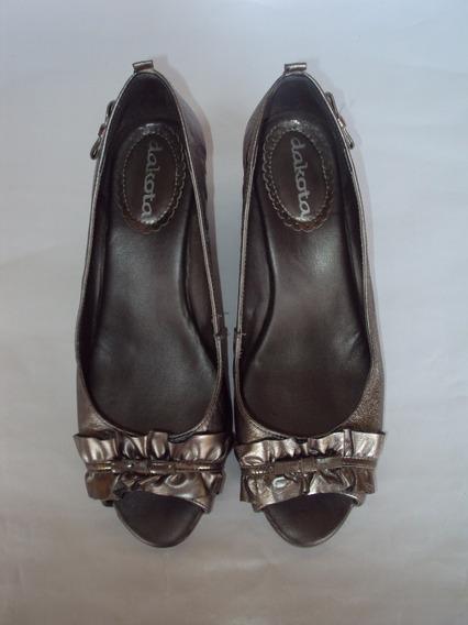 Lindo Sapato Feminino Peep Toe Em Couro Prateado Dakota