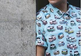 Camisa Masculina Estampada Casual Kombi Retro Cool Style