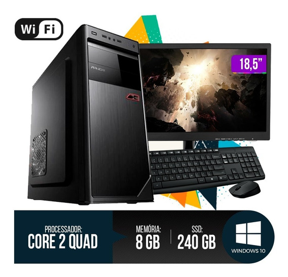 Pc Completo Intel Core 2 Quad,8gb Ram Ddr3, Hd Ssd 240gb