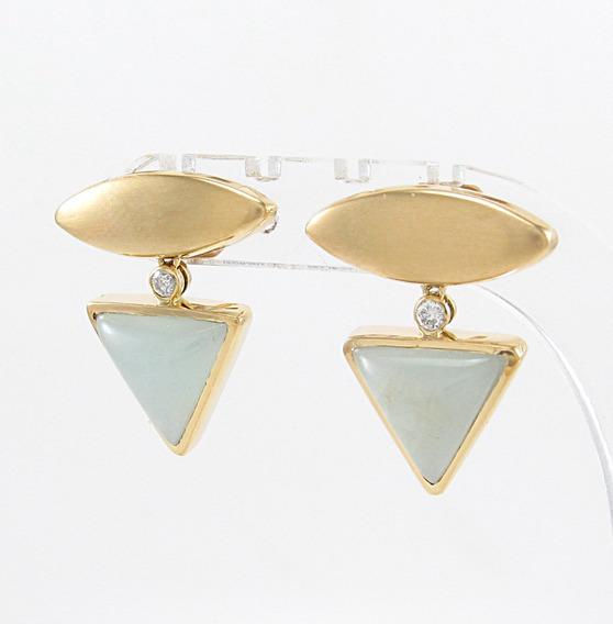 Esfinge Joias- Brinco Design Quartzo E Diamante Ouro 18k 750