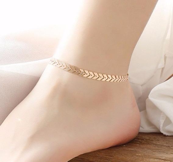 Tornozeleira Feminina Banhada Em Ouro 18k Elegante