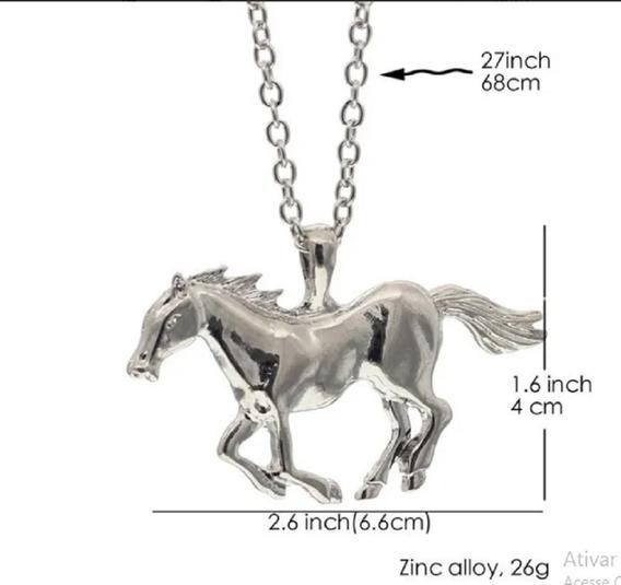 Colar Pingente Cavalo Prata