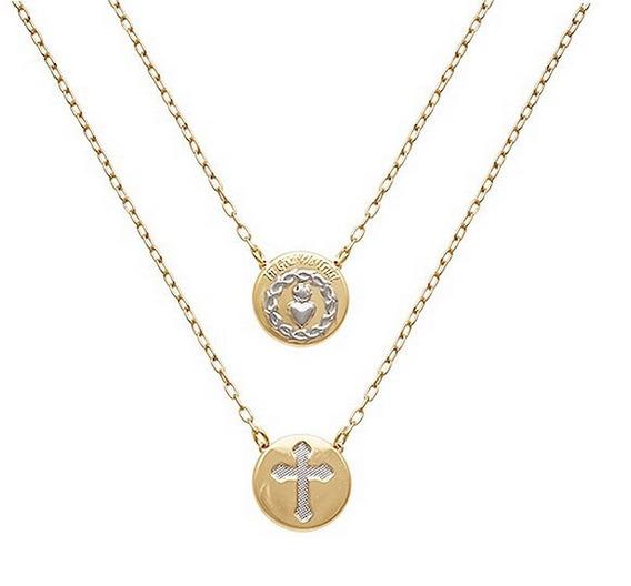 Escapulário Sagrado Coração Jesus Cruz Folheado A Ouro 18k
