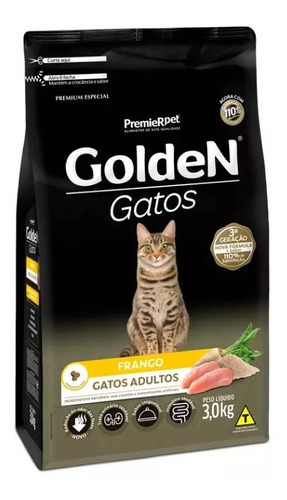 Imagem 1 de 1 de Ração Golden Gato Adulto Sabor Frango 3kg