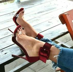 Sapatos Femininos Sandalias Veludo Vermelho