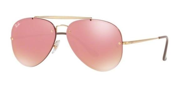 Oculos Sol Ray Ban Blaze Aviador Rb3584n 9052e4 Dourado Rosa