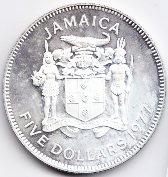 Jamaica 5 Dolares Plata 1977 Norman W Manley Km# 14.1 Proof
