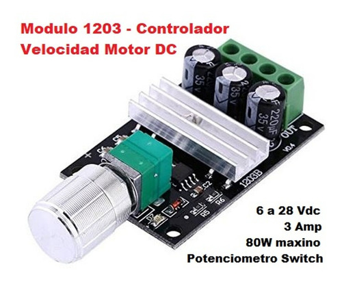 Controlador Velocidad Motor 1203bk Pwm  Dc 6 28vdc 3a 80w