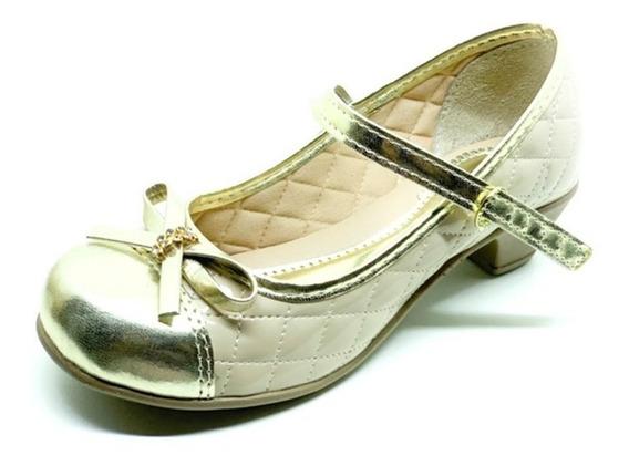 Sapatilha Sapato Boneca Saltinho Infantil Branco Dourado