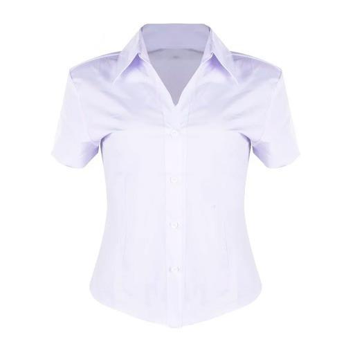Camisete Camisa Social Plus Size Branco Manga Curta Bordado