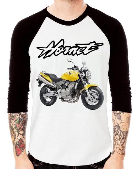 Camiseta Raglan Moto Honda Cb 600 Hornet Amarela 3/4