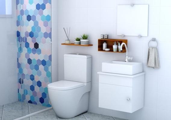 Gabinete Armário Banheiro Cuba/ Espelho London Msqd 44cm