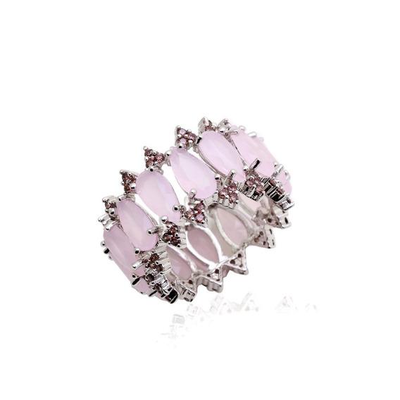 Anel Semi Jóia Pedras Quartzo Rosa E Zircônias Pink Tam. 14