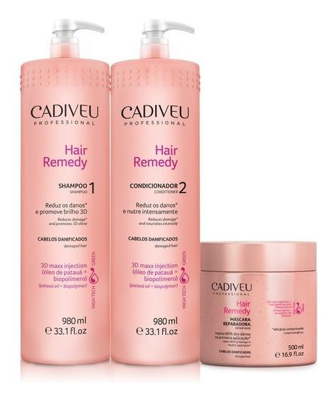 Kit Cadiveu Hair Remedy Tratamento Profissional 3 Produtos
