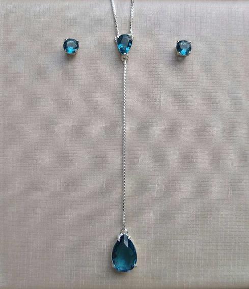 Conjunto Prata 925 Gravatinha De Gotas Safira - Delicado