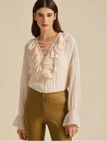 Hermosa Blusa Acampanada Con Cordones