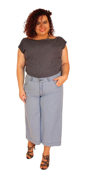 Calça Pantacurt Bruna Jeans Claro Plus Size Do 46 Ao 56