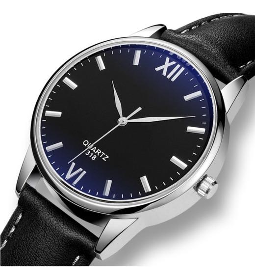 Relógio Masculino Couro Militar Social Clássico Luxo Oferta