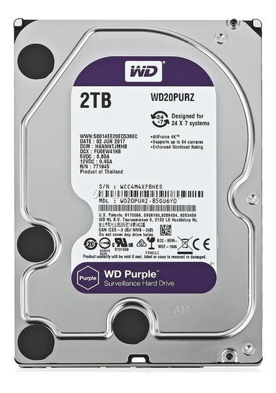 Hd 2tb Wd Purple Wd20purz 64mb Sata Cftv Segurança Nvr Dvr
