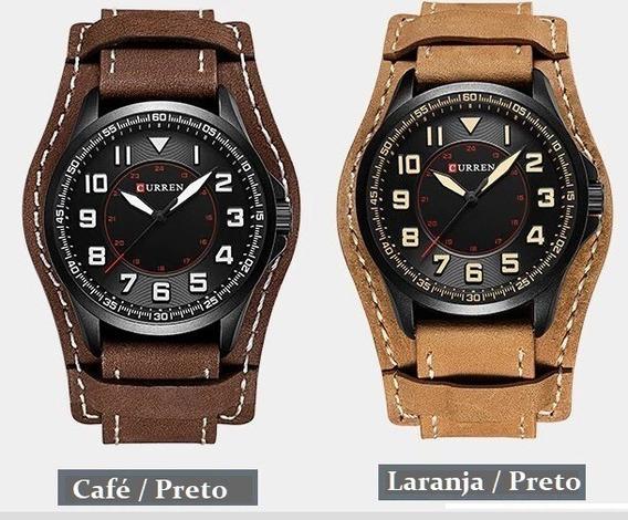 Relógio Esportivo Pulseira Bracelete De Couro Curren 8279