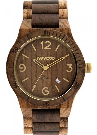 Relógio De Madeira Alpha Sw Zebrano Choco Rough - Wwa13