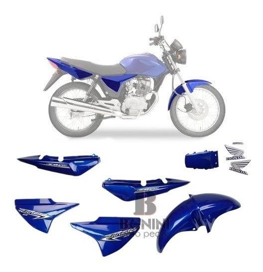 Kit Carenagem Cg 150 Ks Titan 2007 Ks 07 Azul Com Adesivo