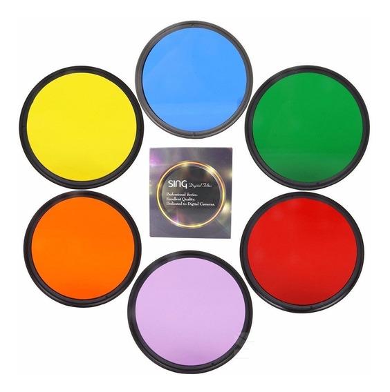Filtro Colorido 62mm 67mm 72mm 77mm 5 Cores Avulso