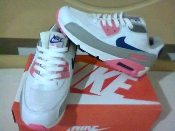 Tenis Nike Air Max 90 Branco/rosa E Azul Nº38 Original