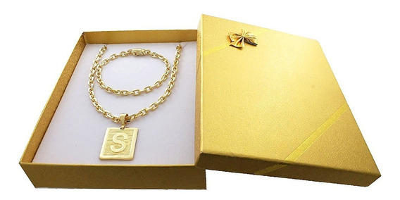 Cordão Banhado A Ouro 18 + Pulsiera + Box + Letra C/gar. 45