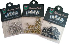 Taxinhas Nail Art Prata Dourado Preto Kit Com 2