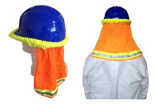 Cubre Nuca Malla Naranja Con Reflejante Para Cascos