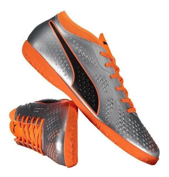 Chuteira Puma One 4 Syn It Futsal Prata