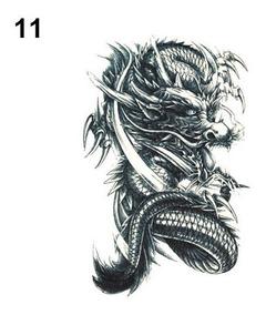 Tatuagem Dragão P Bran Real Temporária Falsa 21x15cm Qs-a061