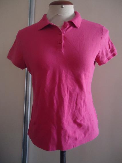 Blusa Polo Feminina Manga Curta Pink Importada M Usada