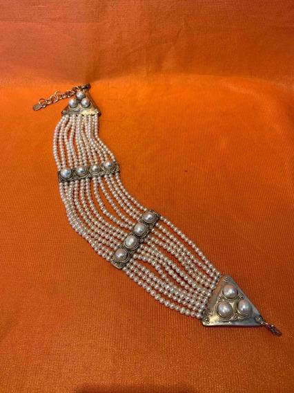 Colar Ou Bracelete De Pérolas E Prata Autêntico Antigo Joia